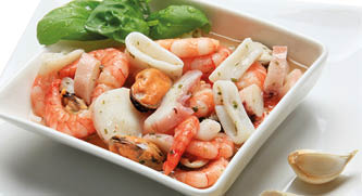 Seafood-Mix in garlic oil