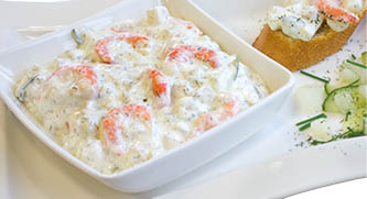 Shrimps in dill sauce