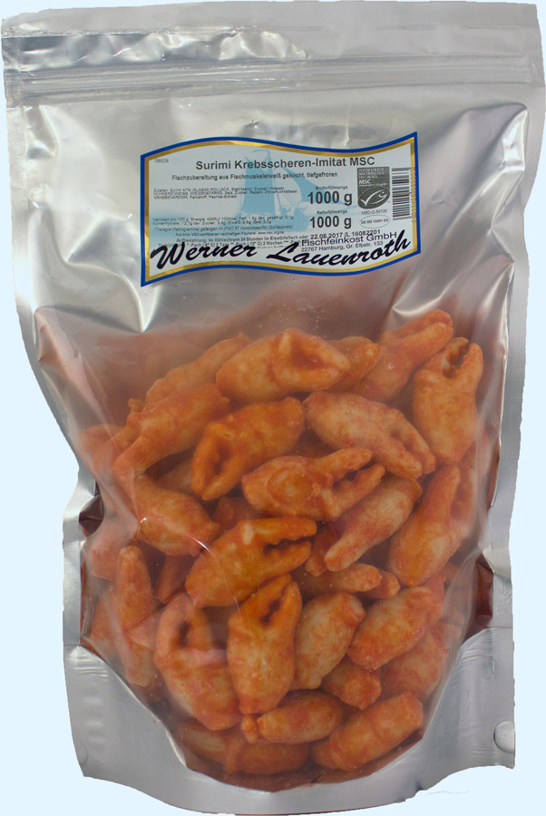 Surimi crab claws frozen, IQF
