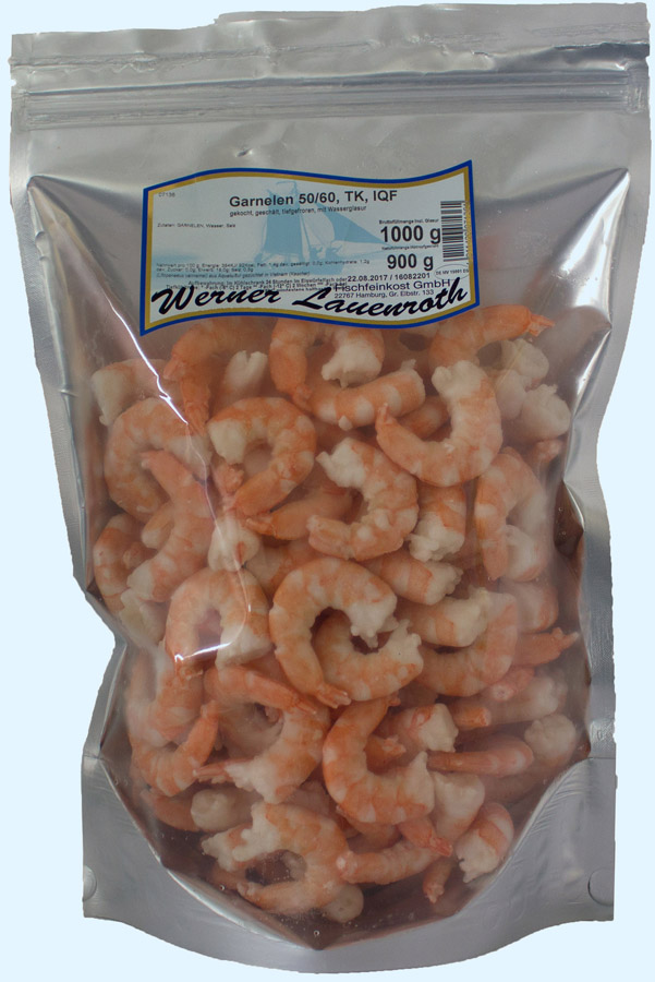 Shrimps 50/60 frozen, IQF